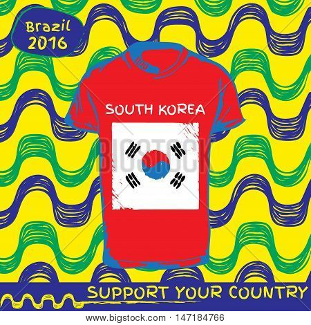 Hand drawn vector. vector pattern with t-shirt with country flag. Support your country. Ipanema, brazil, 2016 pattern. National flag. South Korea