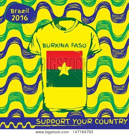 Hand drawn vector. vector pattern with t-shirt with country flag. Support your country. Ipanema, brazil, 2016 pattern. National flag. Burkina Faso