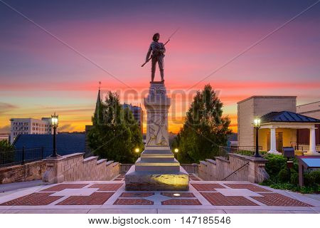 Lynchburg, Virginia, USA cityscape at Monument Terrace.