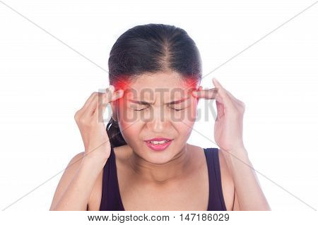 young women sick and headache on white background