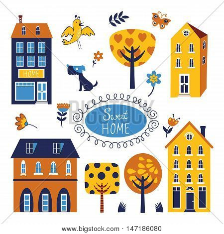 Home sweet home colorful set. Illustration in vector format