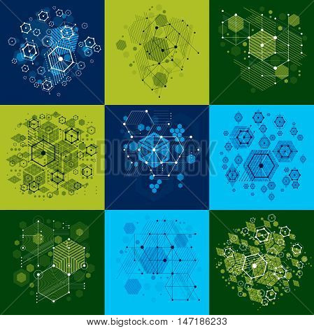 Set of modular Bauhaus vector backgrounds created from simple geometric figures like circles and hexagons.