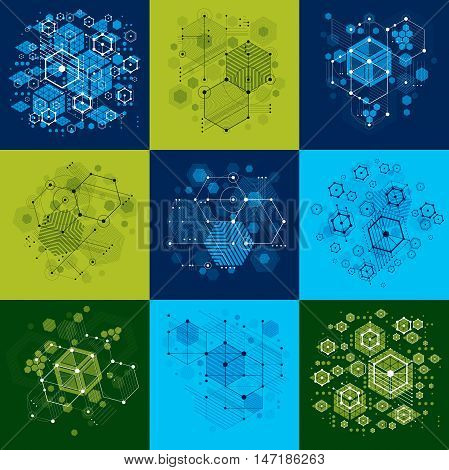 Collection of Bauhaus retro art vector backgrounds made using hexagons and circles. Geometric graphic 1960s illustrations can be used as booklets cover design.