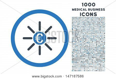 Euro Distribution rounded vector bicolor icon with 1000 medical business icons. Set style is flat pictograms, smooth blue colors, white background.