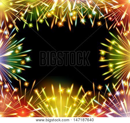 fireworks color greeting card congratulations template blank