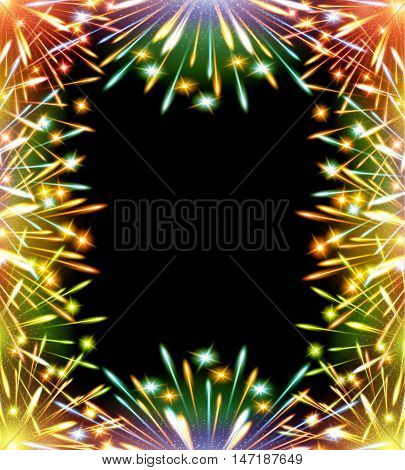 fireworks  horizontal raster greeting card template blank