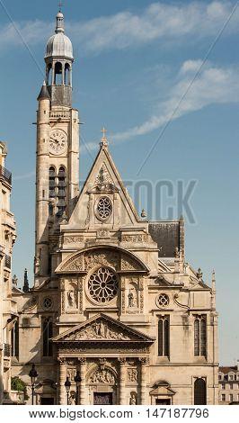 The Saint Etienne du Mont is a church in Paris France located on the montagne Saint Genevieve near the Pantheon.It contains the shrine of St. Genevieve the patron saint of Paris.