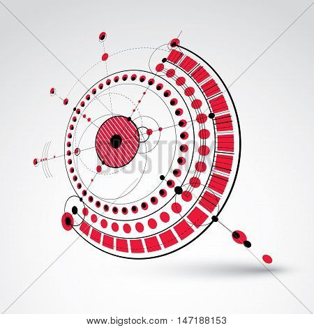 Technical plan red abstract engineering draft for use in graphic and web design. Perspective vector drawing of industrial system created with mechanical parts and circles.