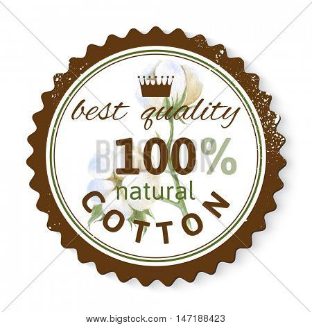 Stamp with watercolor cotton plant and text design best quality - 100 natural cotton