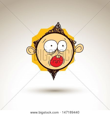 Vector colorful hand drawn illustration of scared cartoon boy isolated on white background simple design element web avatar idea.