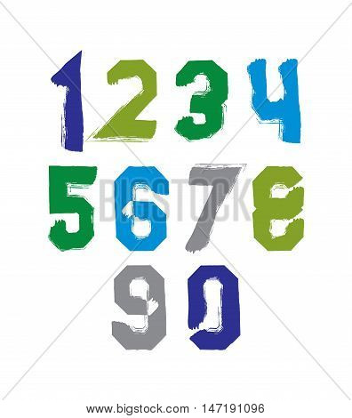 Freak colorful digits set of vector unusual numbers drawn with real ink brush.