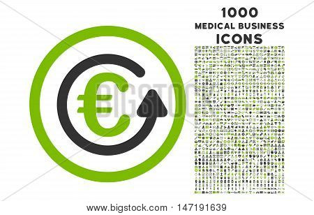 Euro Chargeback rounded vector bicolor icon with 1000 medical business icons. Set style is flat pictograms, eco green and gray colors, white background.