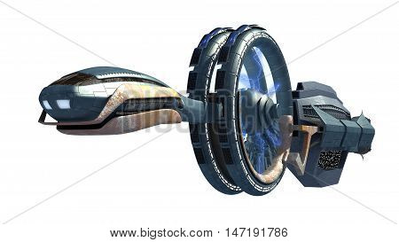 3d Illustration of a spacecraft with gravitational energy field side wheels, for games, futuristic exploration or science fiction backgrounds, with the clipping path included in the file.