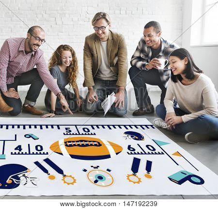 American Football Team Field Yard Pumped Sports Concept