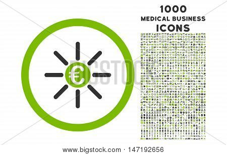Euro Distribution rounded vector bicolor icon with 1000 medical business icons. Set style is flat pictograms, eco green and gray colors, white background.