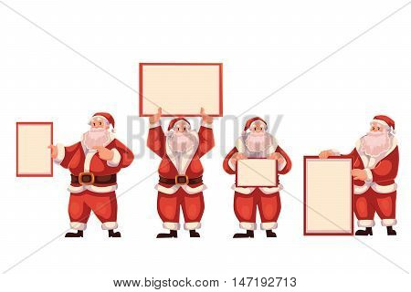 Set of Santa Claus holding a blank board and pointing to it, cartoon style vector illustrations isolated on white background. Santa Claus showing, pointing and rising empty board, Christmas decoration