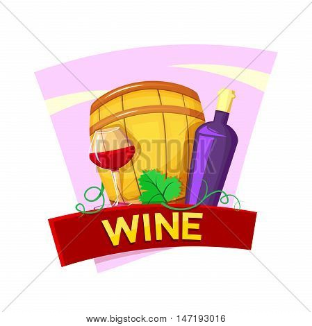 Wine concept design with red ribbon, keg, bottle, wineglass  vector illustration