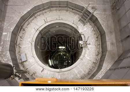 ZWENTENDORF, AUSTRIA - JUNE 1, 2013: View into the reactor pressure vessel of Zwentendorf Nuclear Power Plant on June 1, 2013. The 1st nuclear plant in Austria has a boiling-water reactor rated at 692 MW