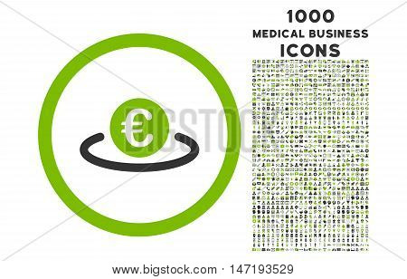 Euro Placement rounded vector bicolor icon with 1000 medical business icons. Set style is flat pictograms, eco green and gray colors, white background.