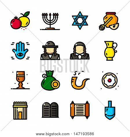 Thin line Judaism icons set, Jewish symbols outline logos vector illustration