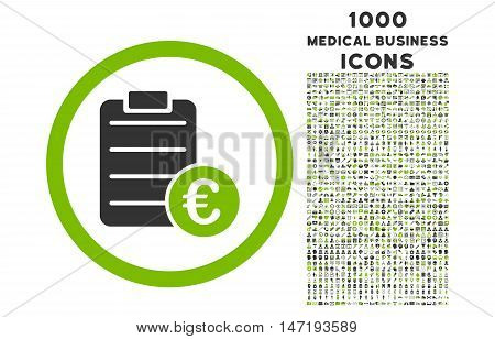 Euro Prices rounded vector bicolor icon with 1000 medical business icons. Set style is flat pictograms, eco green and gray colors, white background.