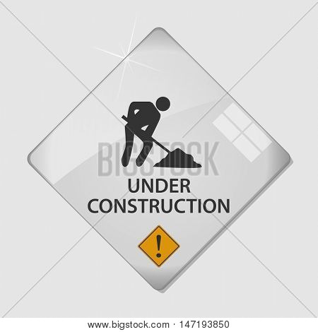 Under construction glass vector illustration
