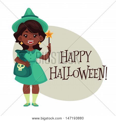 Happy girl dressed as fairy for Halloween, cartoon style vector illustration isolated on white background. Fairy fancy dress idea. Trick or treat Halloween card