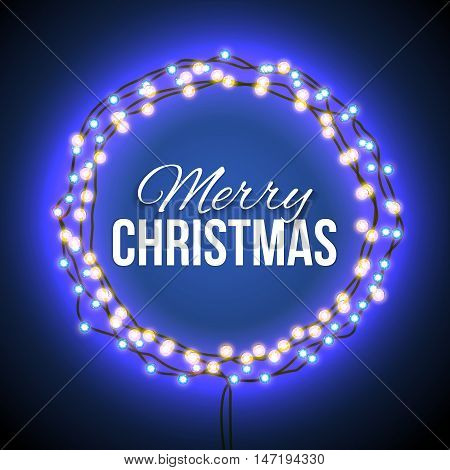 Round frame with glowing lights, garlands of blue with the words Merry Christmas.. Background on sale, discounts, promotions in the winter. Seasonal advertising. Suitable for printing, mailing