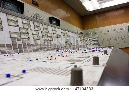 ZWENTENDORF, AUSTRIA - JUNE 1, 2013: Control room of the Zwentendorf Nuclear Power Plant on June 1, 2013 in Austria. The atomic power plant was built in 1976 with a hot water reactor 723 MW's gross power