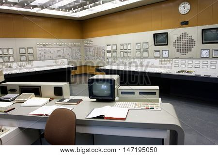 ZWENTENDORF, AUSTRIA - JUNE 1, 2013: Old style control room of the Zwentendorf Nuclear Power Plant on June 1, 2013 in Austria. The atomic power plant was built in 1976 with a hot water reactor