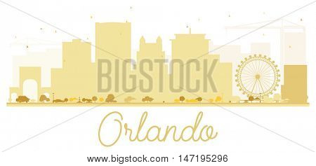 Orlando City skyline golden silhouette. Vector illustration. Simple flat concept for tourism presentation, banner, placard or web site. Cityscape with landmarks