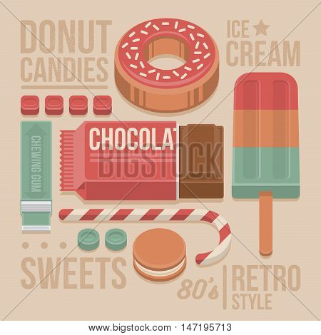 Confectionery Vintage Cover - Donut Chocolate Bar Lollipop Cookies Sweet Candies Chewing Gum and Ice-cream. 80s Retro Style with Flat Elements Isolated on Beige Background. Vector Illustration.