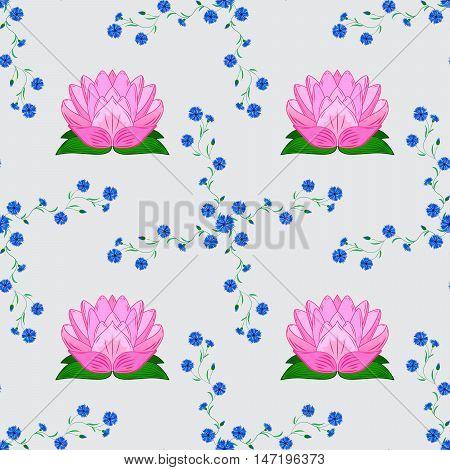 rosy lotus lilies decorative floral element on light background. raster illustration