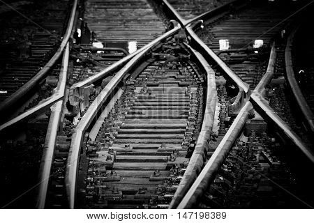 Rail tracks and intersection at the railway station