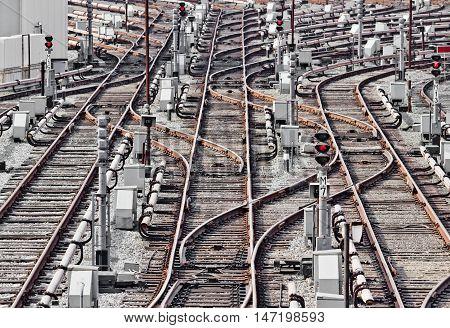 Rail tracks in depot. Kiev Ukraine. Kyiv Ukraine
