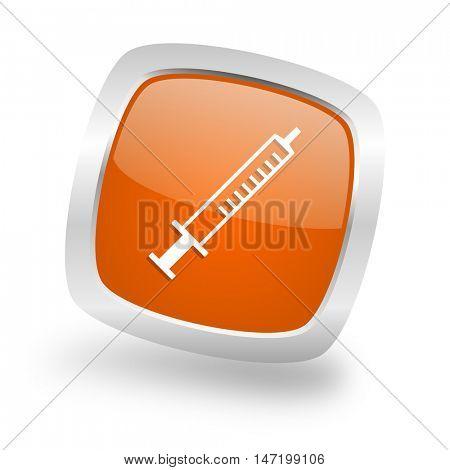 medicine square glossy orange chrome silver metallic web icon