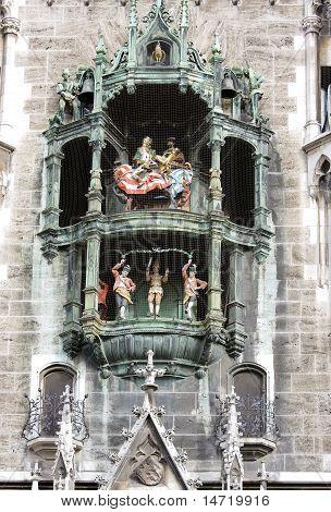 Clock Of The Old City Hall At Marienplatz In Munich