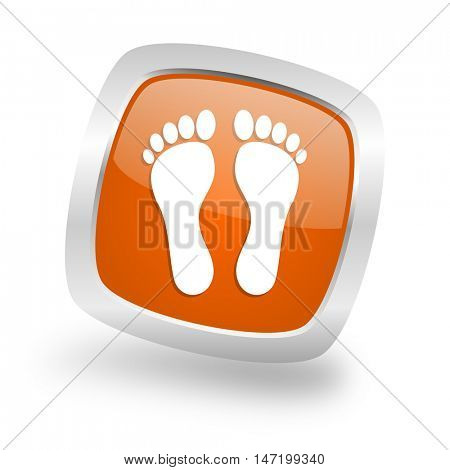 foot square glossy orange chrome silver metallic web icon