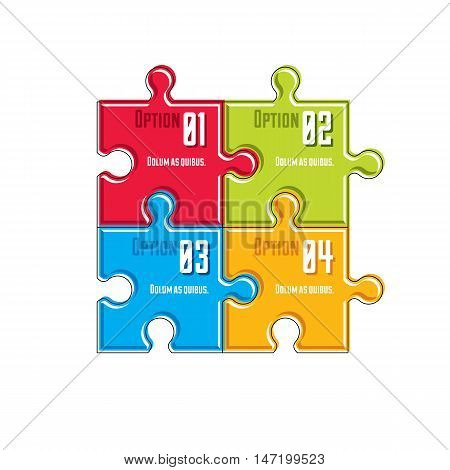 Puzzle elements infographic composition layout of jigsaw puzzles for visual presentation of options.