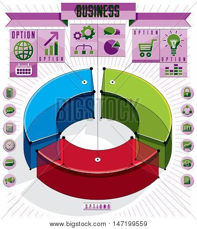 Creative infographics conceptual composition three sectored 3d circle idea vector layout illustration.