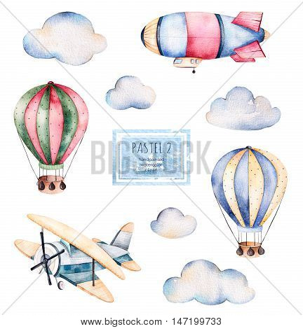 Watercolor collection with air balloons, clouds,airship and the plane in pastel colours.