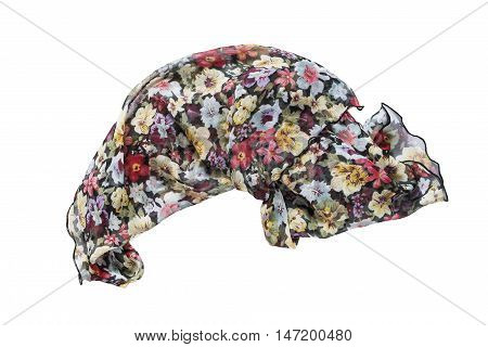 Colorful chiffon kerchief crumpled on white background