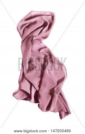 Pink silk kerchief draped on white background