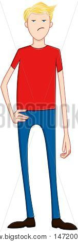 Vector illustration of an unhappy blond guy standing.