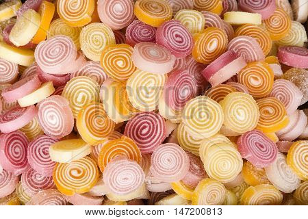 Group of gummy round of various colours