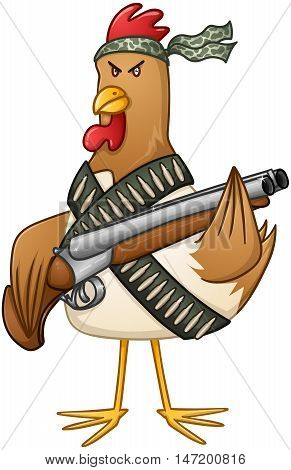 Vector illustration of a mad rooster with shotgun and bullets.