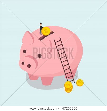 Piggy bank and man throws a coin illustration in Isometric flat style