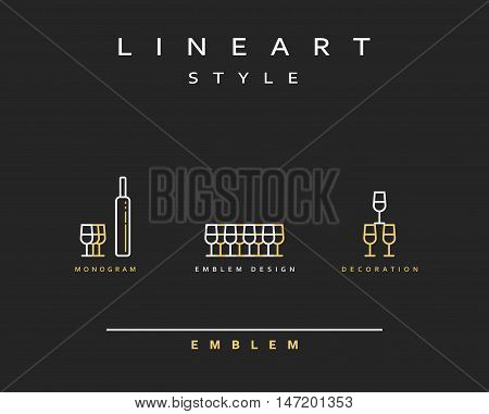 Wine glass icon style line art. Vintage glass icon. Monogram emblem for restaurant design style lineart
