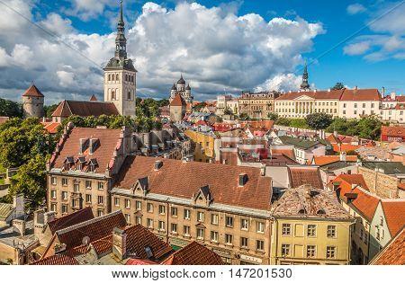 Panoramic view of the city of Tallinn Estonia