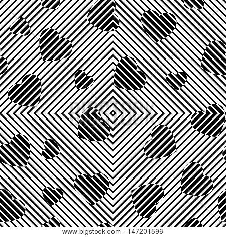 Hearts background. Chaotic art. Chaos wallpaper. Rambling backdrop. Random design. Turmoil illustration. Casual decoration. Mess pattern. Geometric ornament. Seamless print. Monochrome vector.